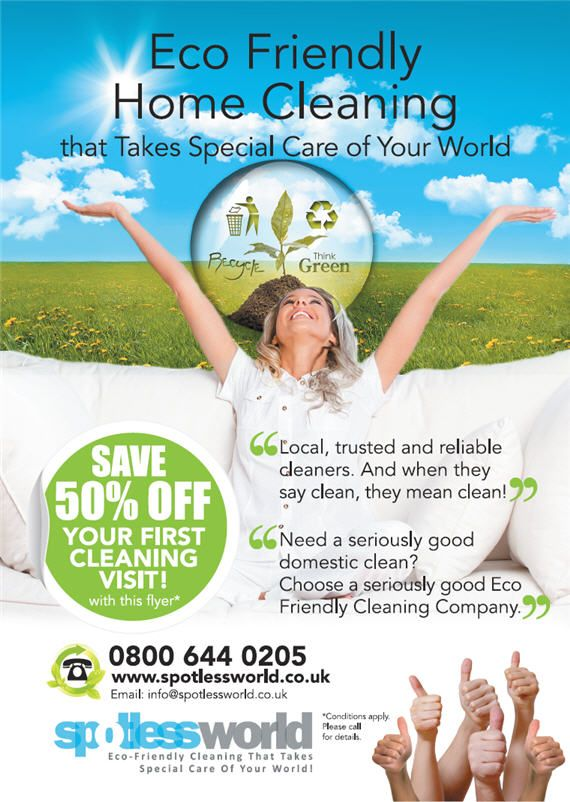 domestic cleaning advert with an eco friendly message domestic cleaning leaflet design