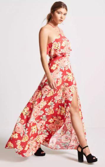 Kleid mit volant lang