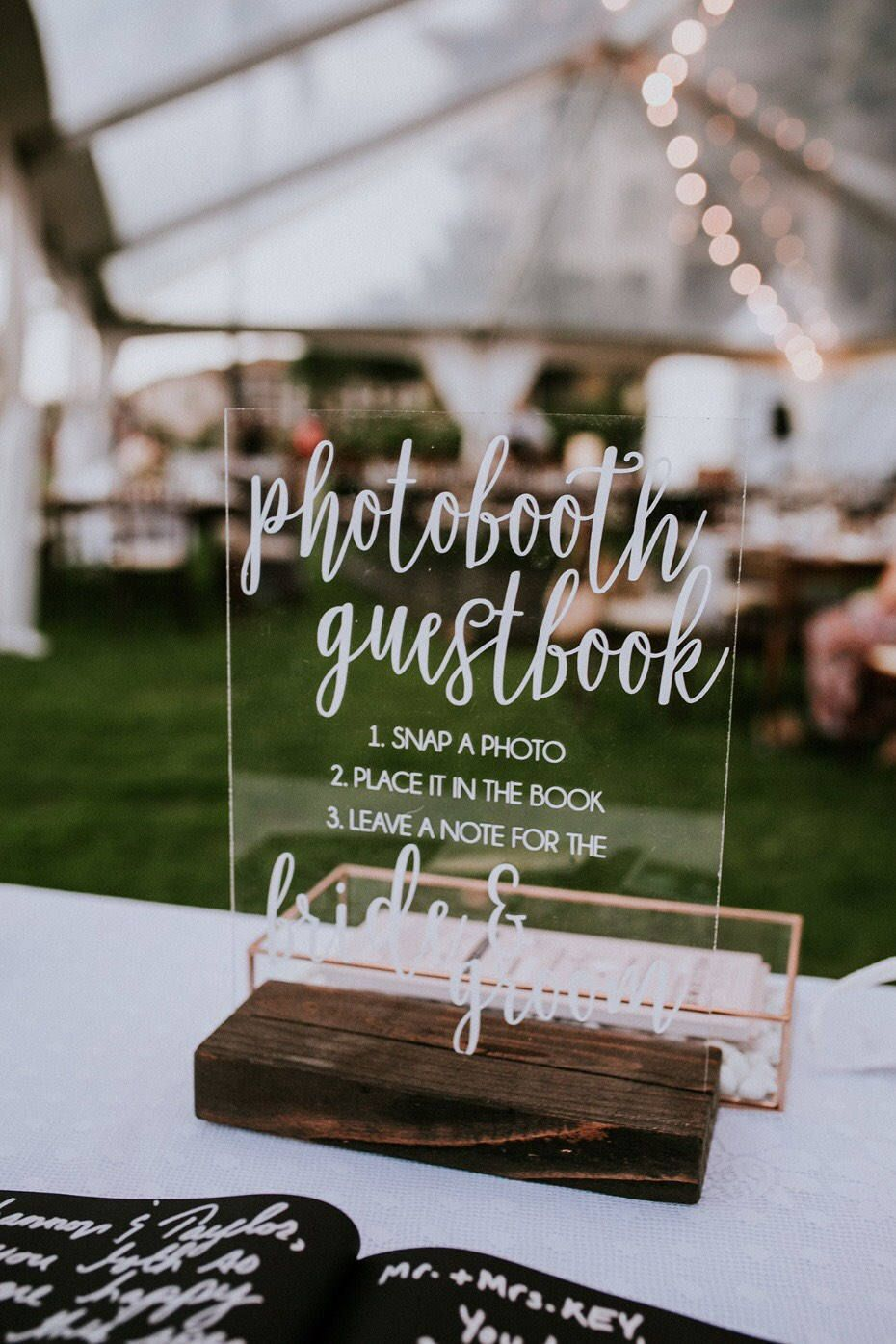 Acrylic photo booth guest book sign! Table Signs