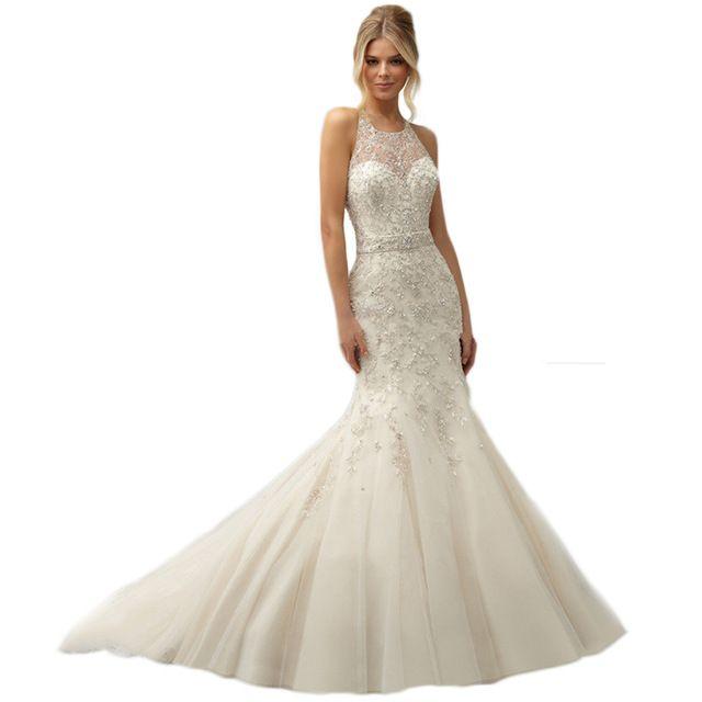 Vestido de noiva 2015 elegante da sereia do bordado jóias Sexy de alta decote ver através voltar mangas vestidos de casamento