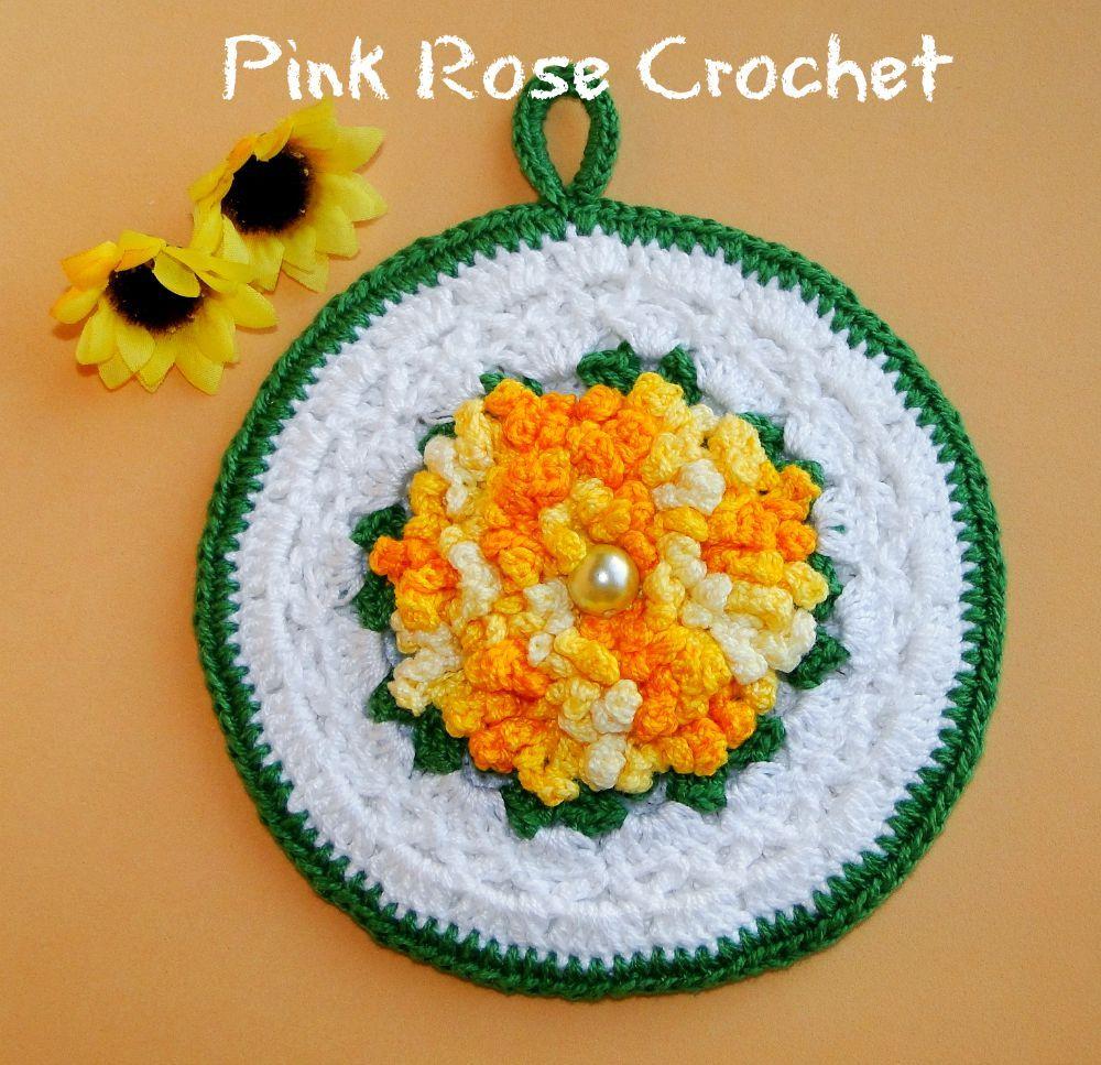 Pega Panelas Flor Zinia Crochet Flower Pot Holders 1000967 Rose Flores Crochetflowers Pretty Diagram Flowers Searchzinniasflower