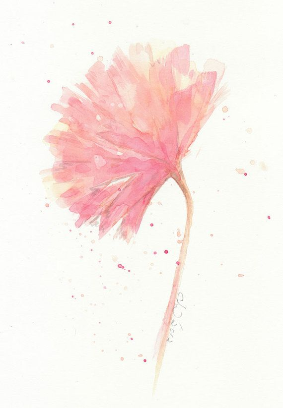 Flower Painting Watercolor Pink