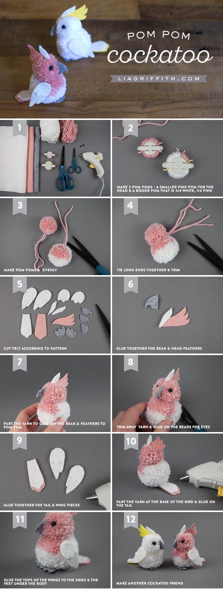 Craft These Really Cute Pom-Pom & Felt Cockatoos! #cutecreatures