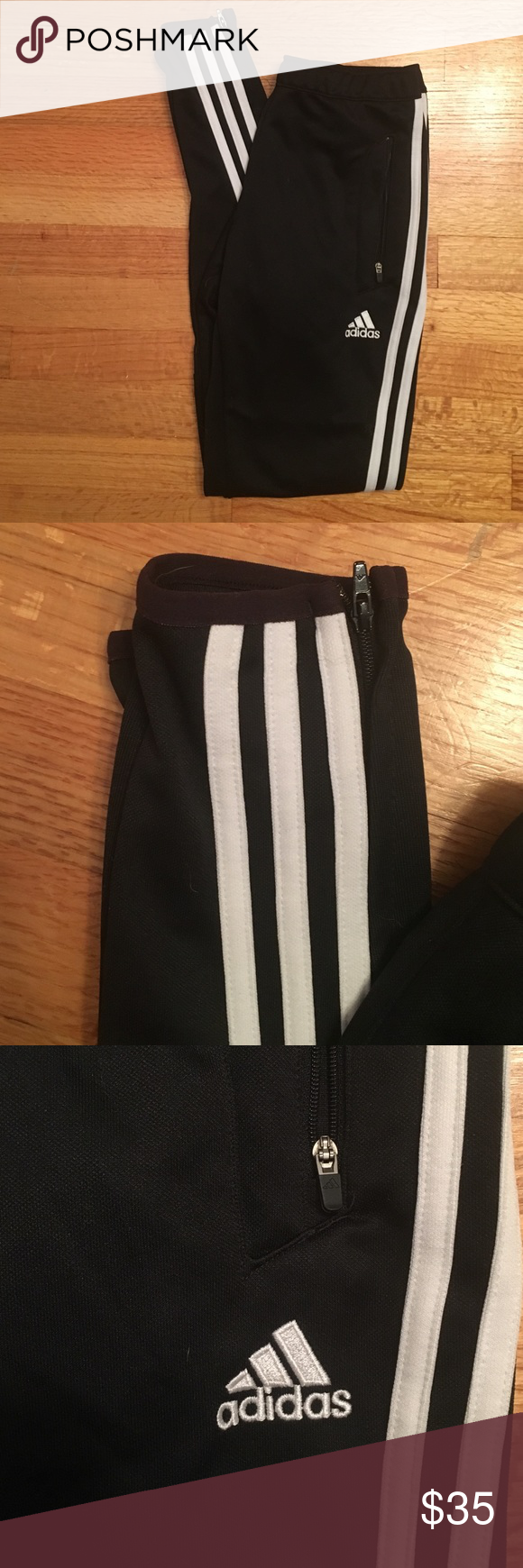 Adidas track pant Zipper pockets and ankles, drawstring waist. XS In women's. Never worn Adidas Pants Track Pants & Joggers