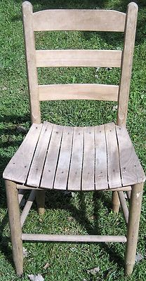 Antique Primitive Oak Ladder Back Chair Wood Slat Seat