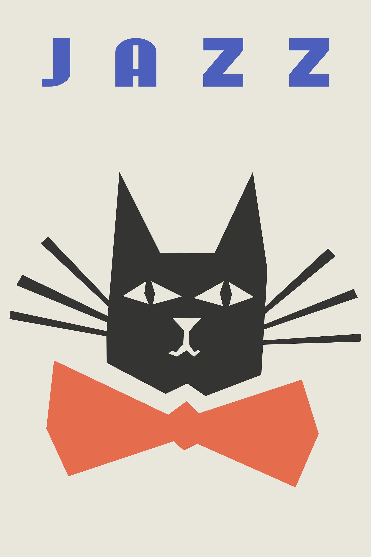 Jazz Poster, Cat Print, Fashion Wall Art, Black White