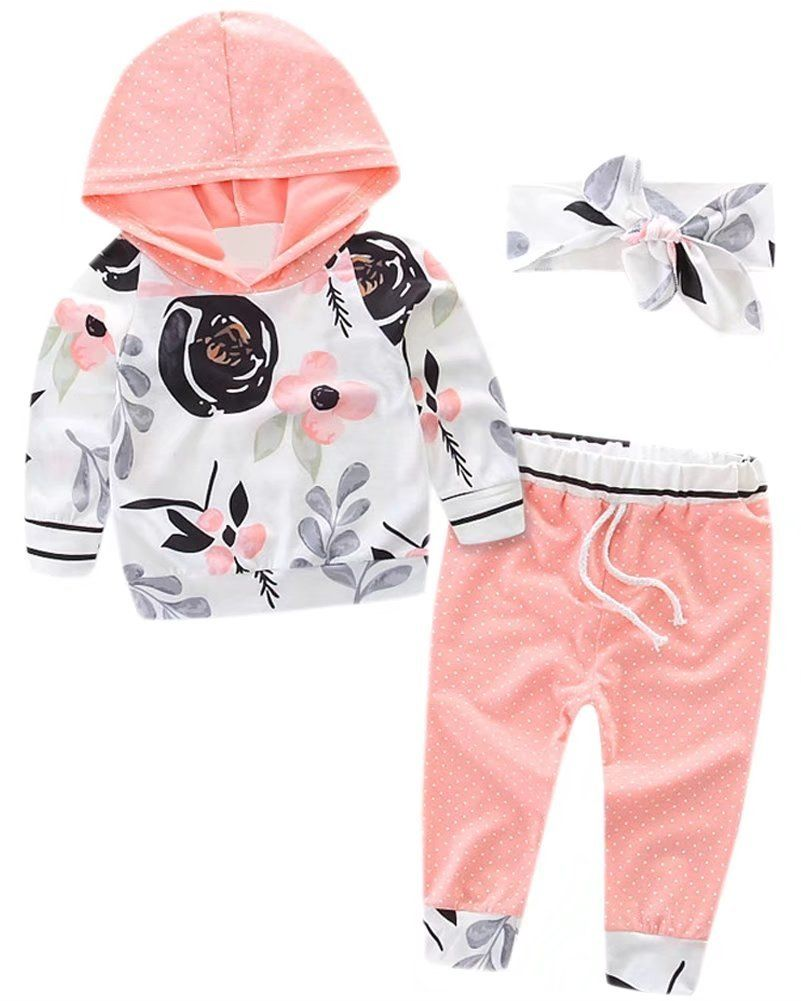 d4206286be247 Kids Cute Outfit With Floral Headband Long Sleeves Flowers Pattern Hooded  Hoodie Sweatshirt Jogger Pants Set