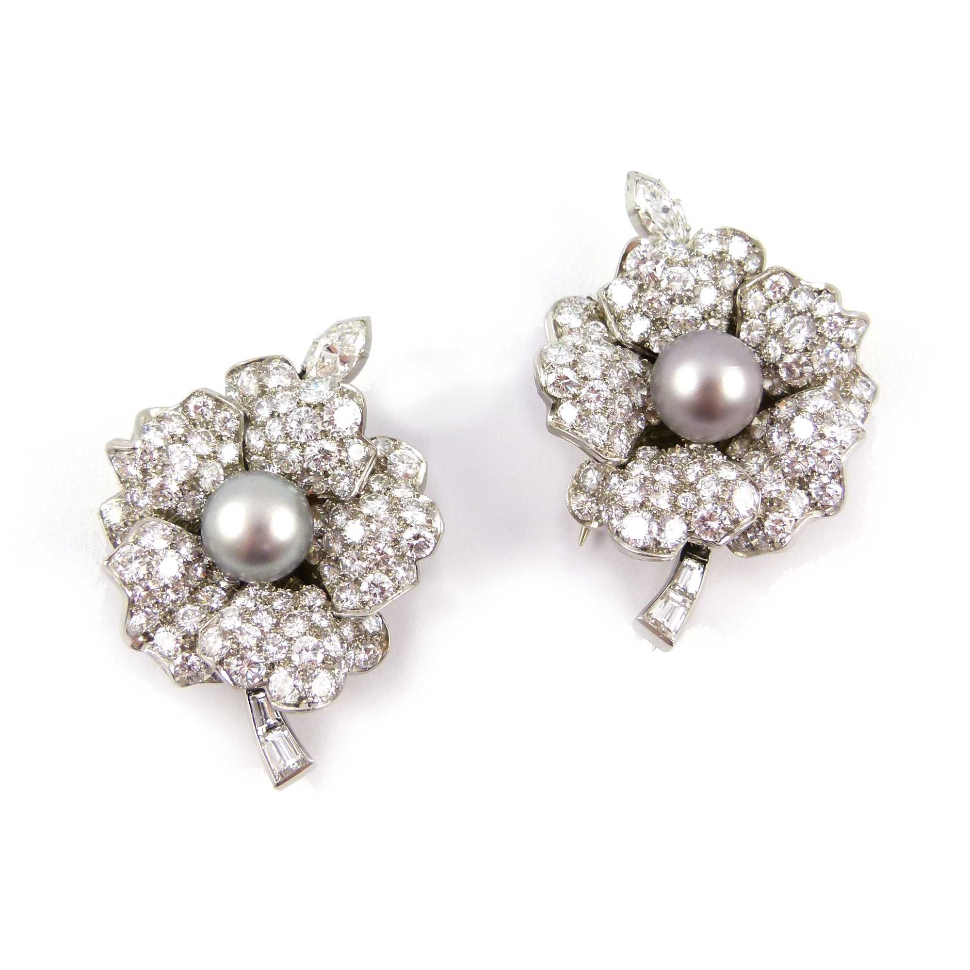 - Pair of mid 20th century grey pearl and diamond clip brooches converting to earrings, c.1955,