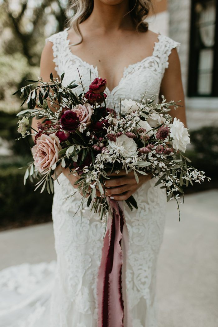 Romantic Jacksonville Wedding at the Tuscan River Estate in Wine, Sage, and Dusty Rose #whitebridalbouquets