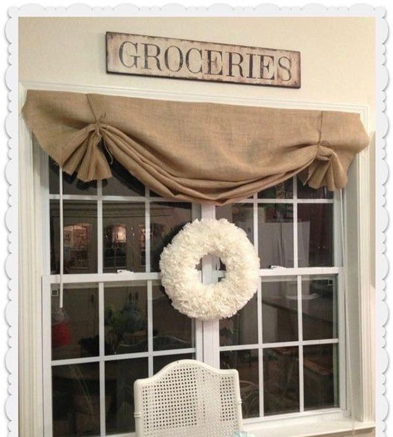 natural burlap valance country farmhouse kitchen living cafe curtain swag panel jute ties custom on farmhouse kitchen curtains id=21710