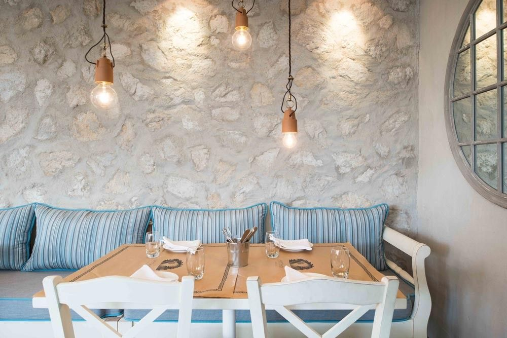 Lighting, Materials, cushions and lacks tableaus ythos Kouzina & Grill by @afrobon - The Greek Foundation #interior #design…