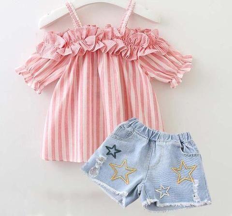 2dcfe9d87 Conjunto de niña blusa y pantalón corto vaquero   mamyka collection ...