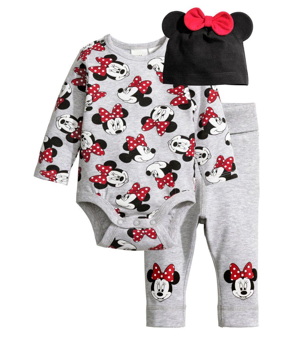 3 Teiliges Jerseyset Grau Minnie Maus Kinder H M De Disney Babykleidung Baby Outfits Madchen Kleidung