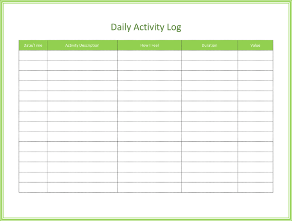 photograph regarding Log Sheets Template known as 5 Each day Log Sheet Templates - Cost-free Pattern Templates