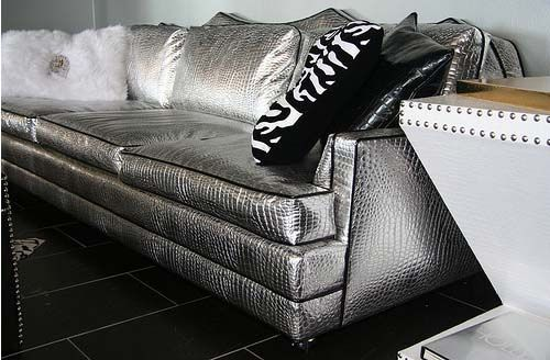 4196 HIGH GLAM SILVER CROC COUCH Calling All Rocker Personalities And  Glamor Queens   This Couch Is Perfect For You! Covered In A Devilishly  Fabulous, ...