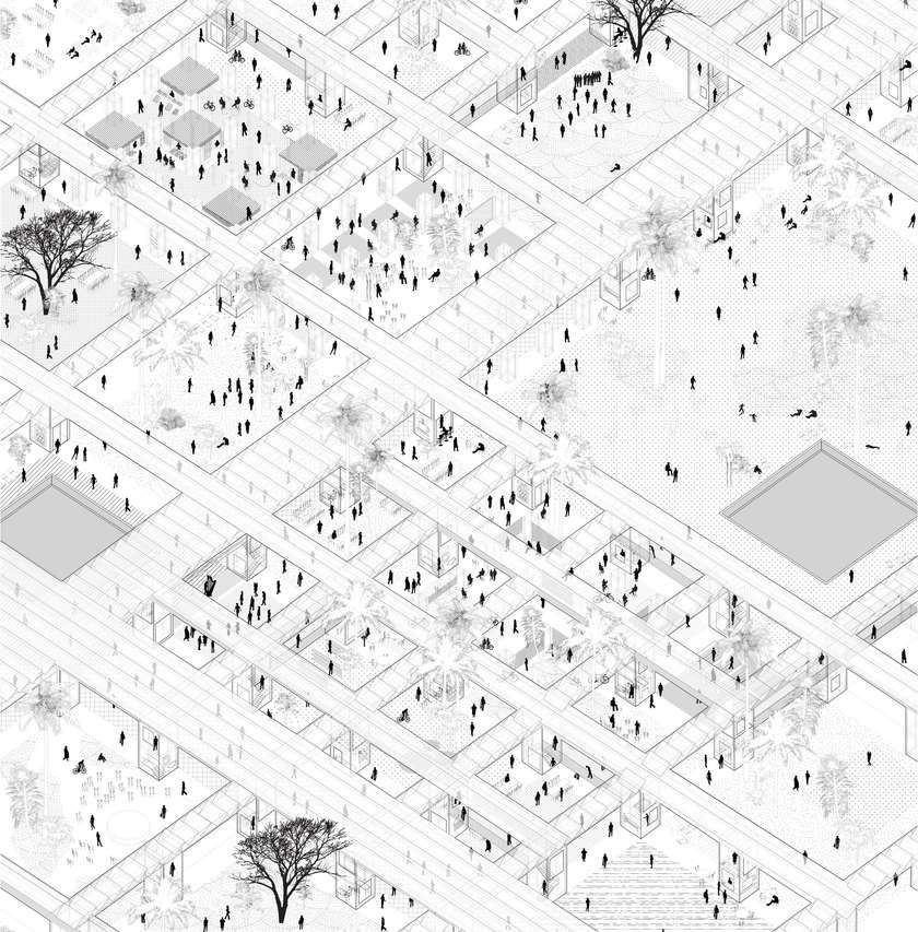 The field and the wall    Future Architecture Platform   Axonometric    drawing        Grid    architecture