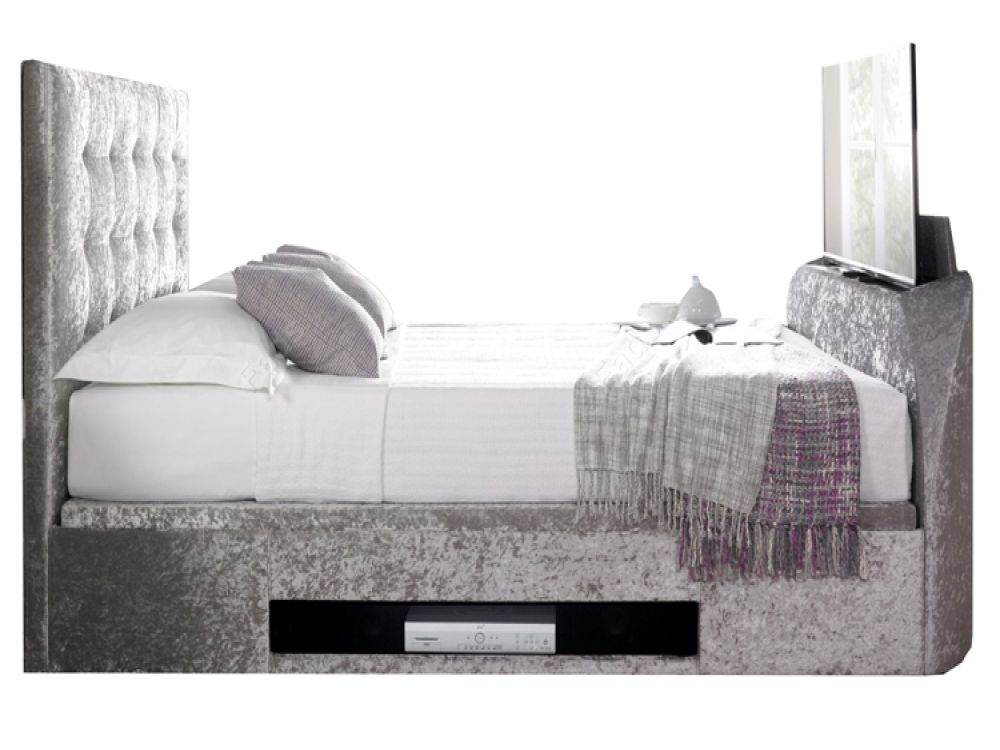 The Barnard Silver Crushed Velvet TV Ottoman Bed features an under bed  ottoman storage design that - The Barnard Silver Crushed Velvet TV Ottoman Bed Features An Under