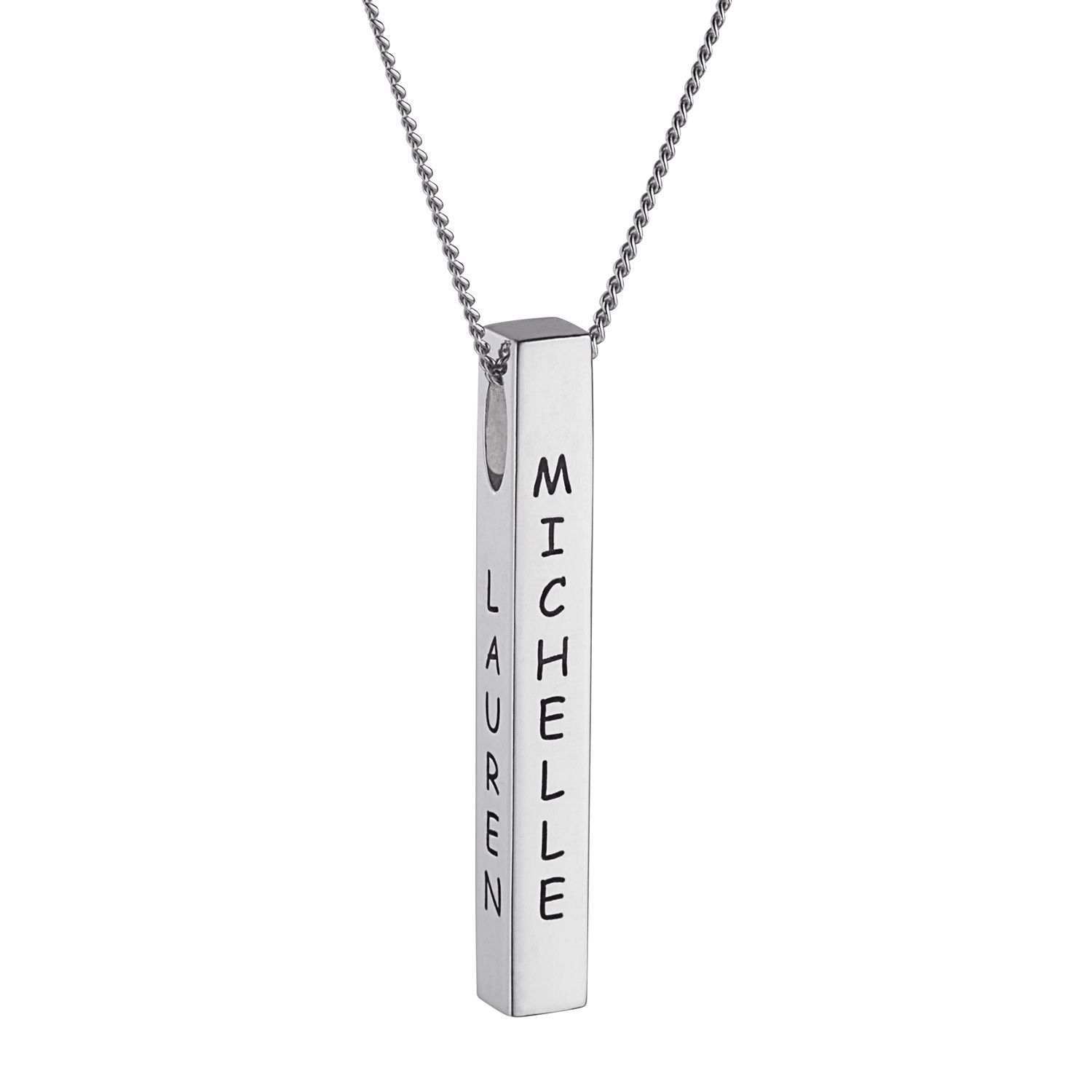 Celebrate family with this sided family name pendant