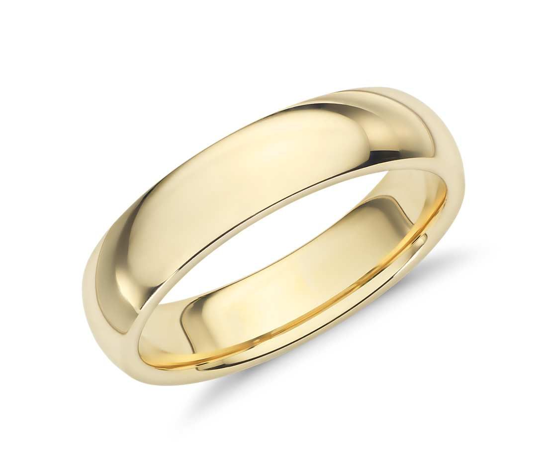 comfort fit wedding ring in 18k yellow gold 5mm - Wedding Rings Gold