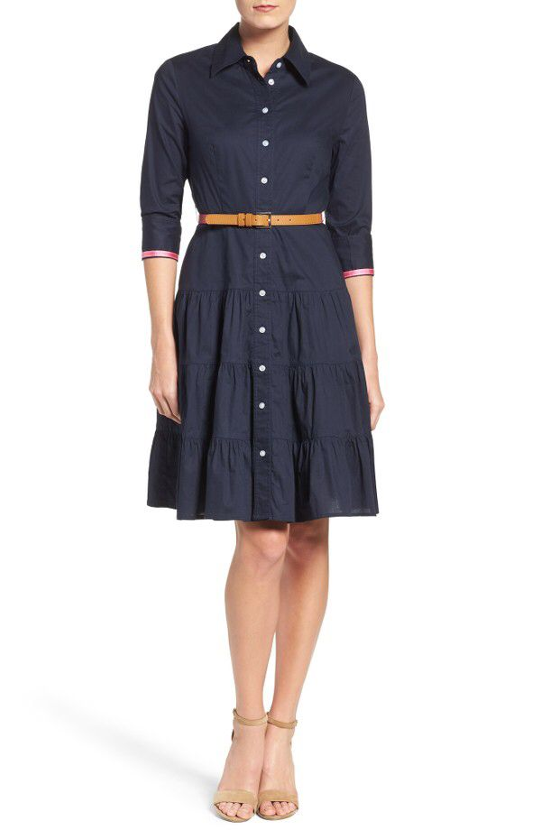 Eliza J Eliza J Tiered Skirt Shirtdress available at #Nordstrom