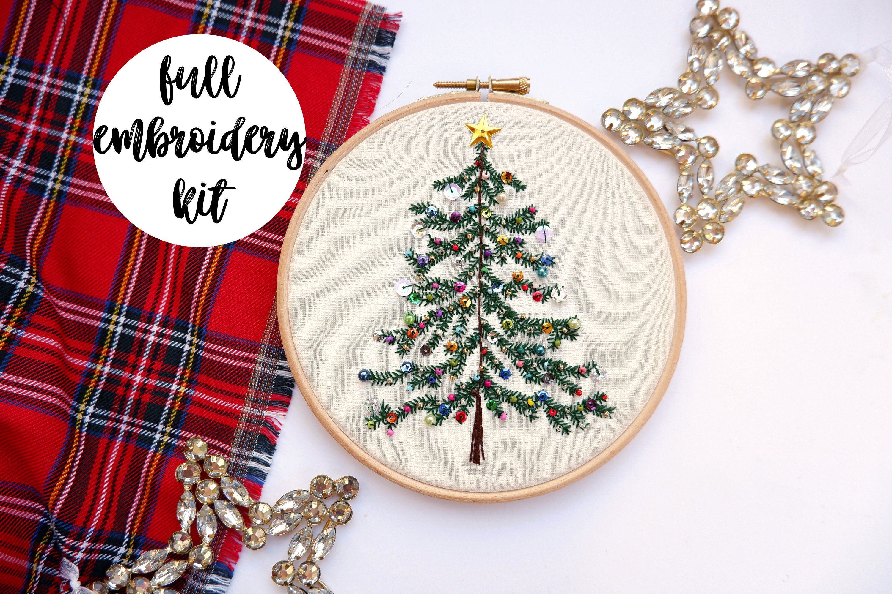 Beaded Christmas Tree Embroidery Kit International Listing By Bunnyandbloomcrafts On Etsy Https Www Etsy C Embroidery Kits Embroidery Kit Etsy Card Pattern