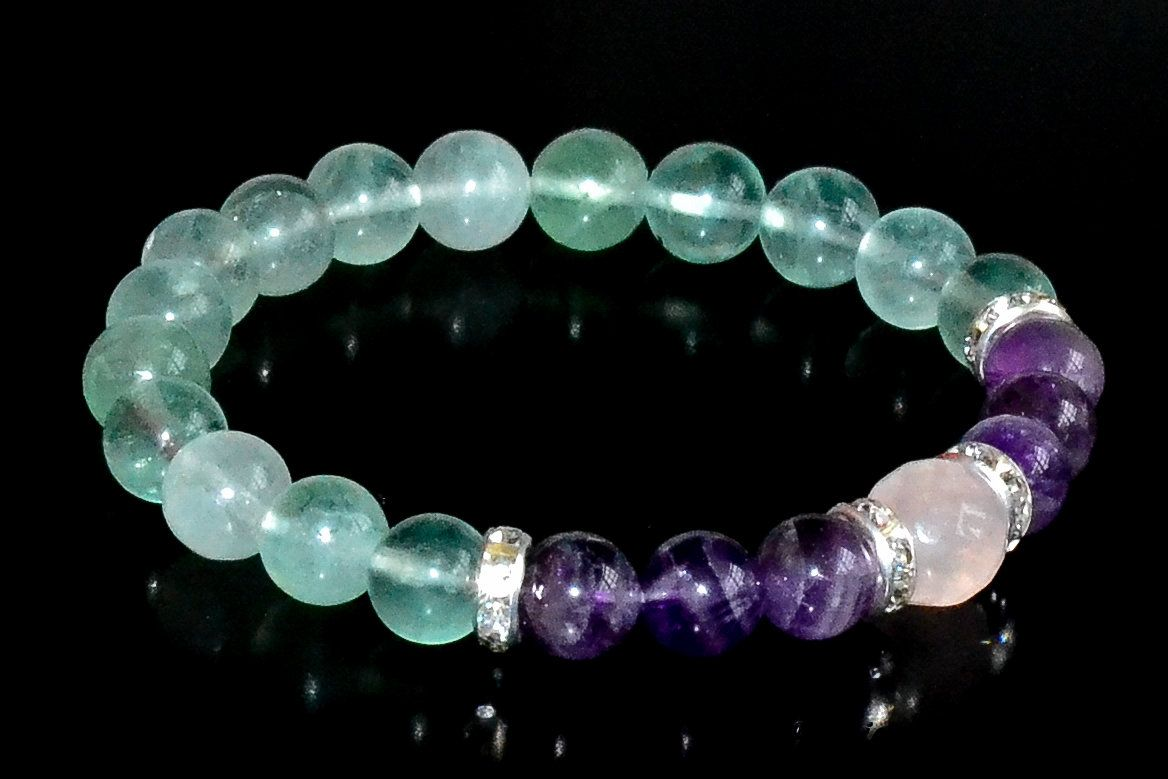 Natural Amethyst Pink Quartz Stress Relief Gemstone Bracelet Chakra Reiki Stone Elasticated Meditation Jewelry UK