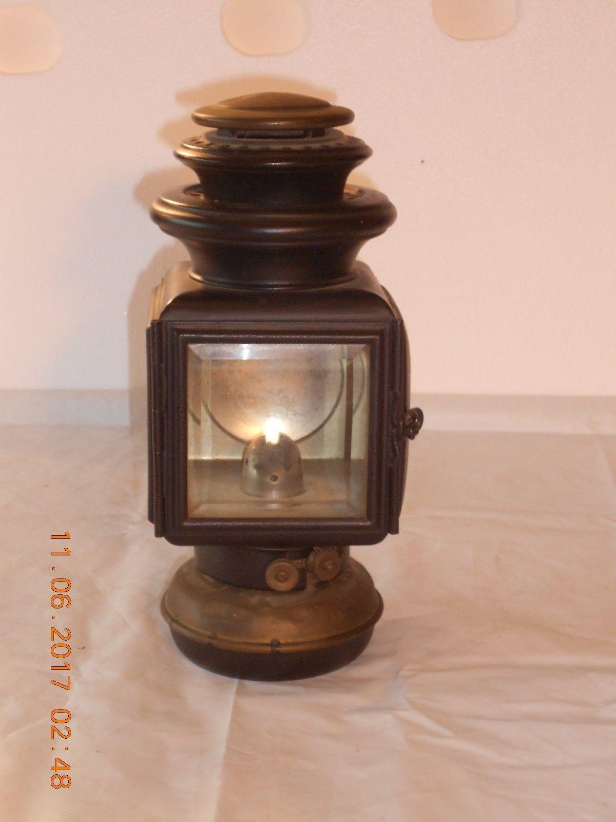 Antique Ford Automobile Kerosene Lamp 1913 Corcoran Co Beveled Glass