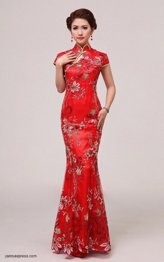Chinese wedding gown modified cheongsam lace bridal qipao for Asian red wedding dresses