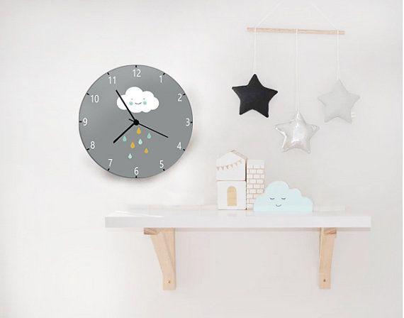 Kids Wall Clock Nursery Childrens Boys S