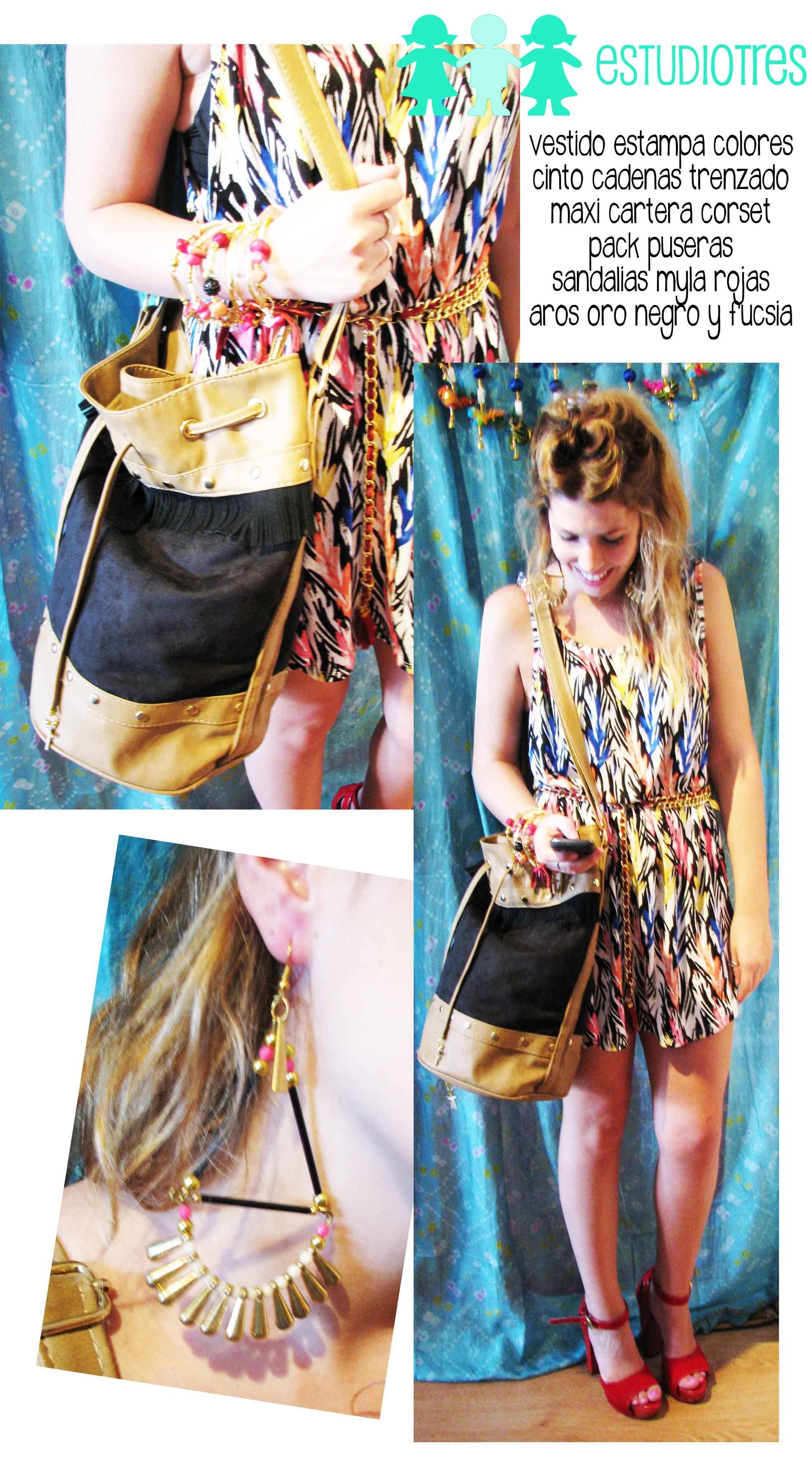 vestido estampado + cinto cadena + manojo pulseras + cartera corset combinada + plataformas mila fuego.