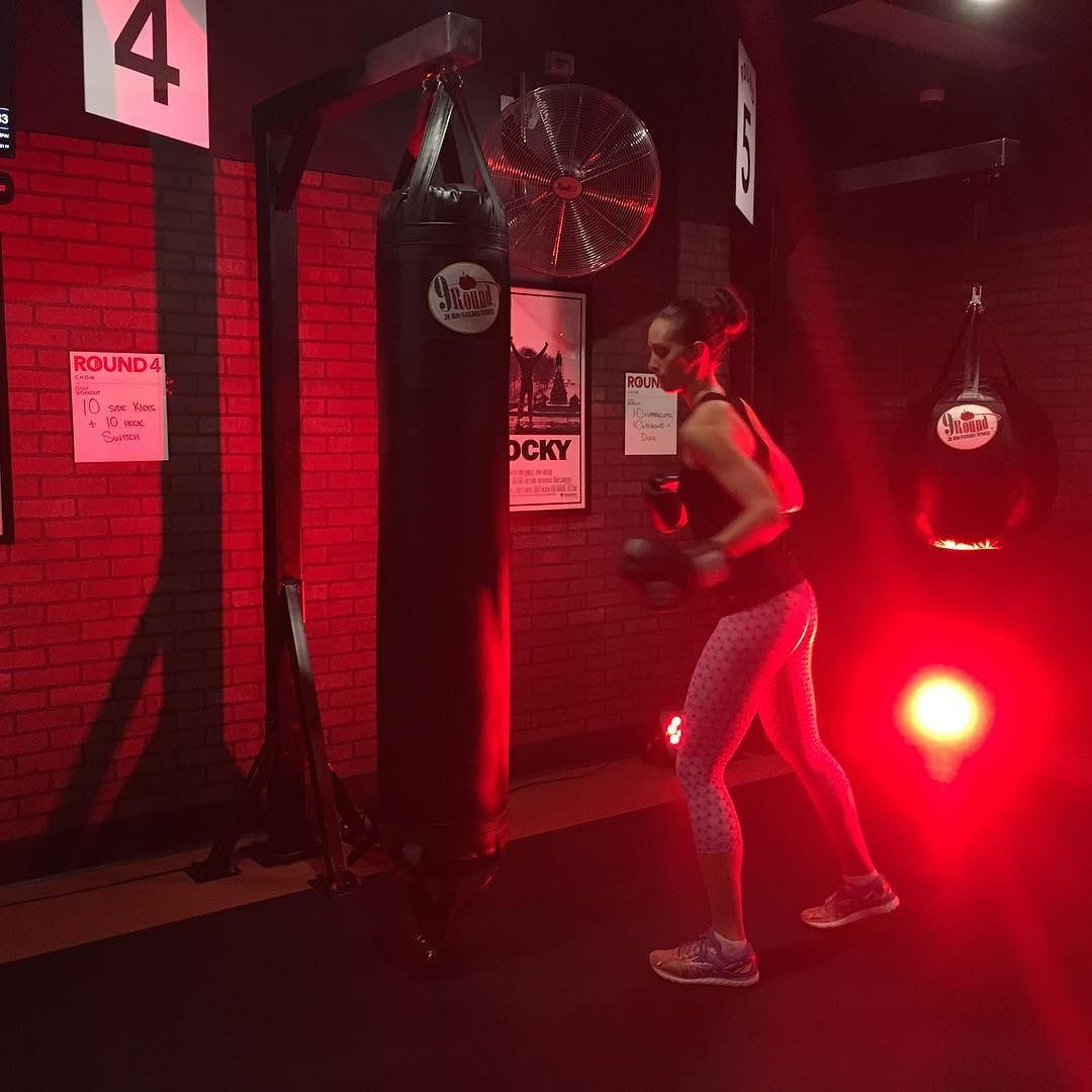 Yesterday I had an amazing workout at the new @9round_morningside studio  9 stations focused on cardio bag work agility & core  Lets just say that 30 minutes of high intensity work is enough to make those quads glutes shoulders & biceps burn the next day Ouch!!  Boxing is my new obsession  by the_fitness_dietitian