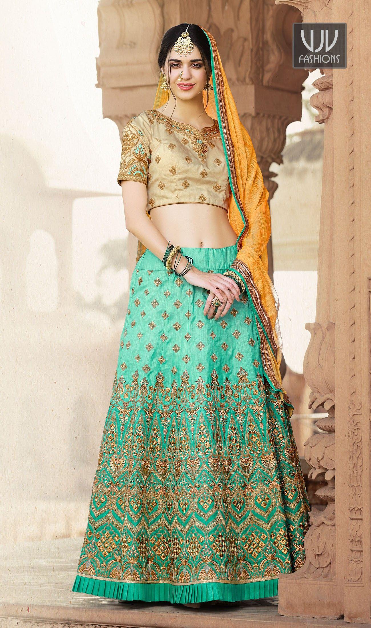 1946ea9859 Mod Sea Green Color Crepe Silk Designer Lehenga Choli | New Wedding ...