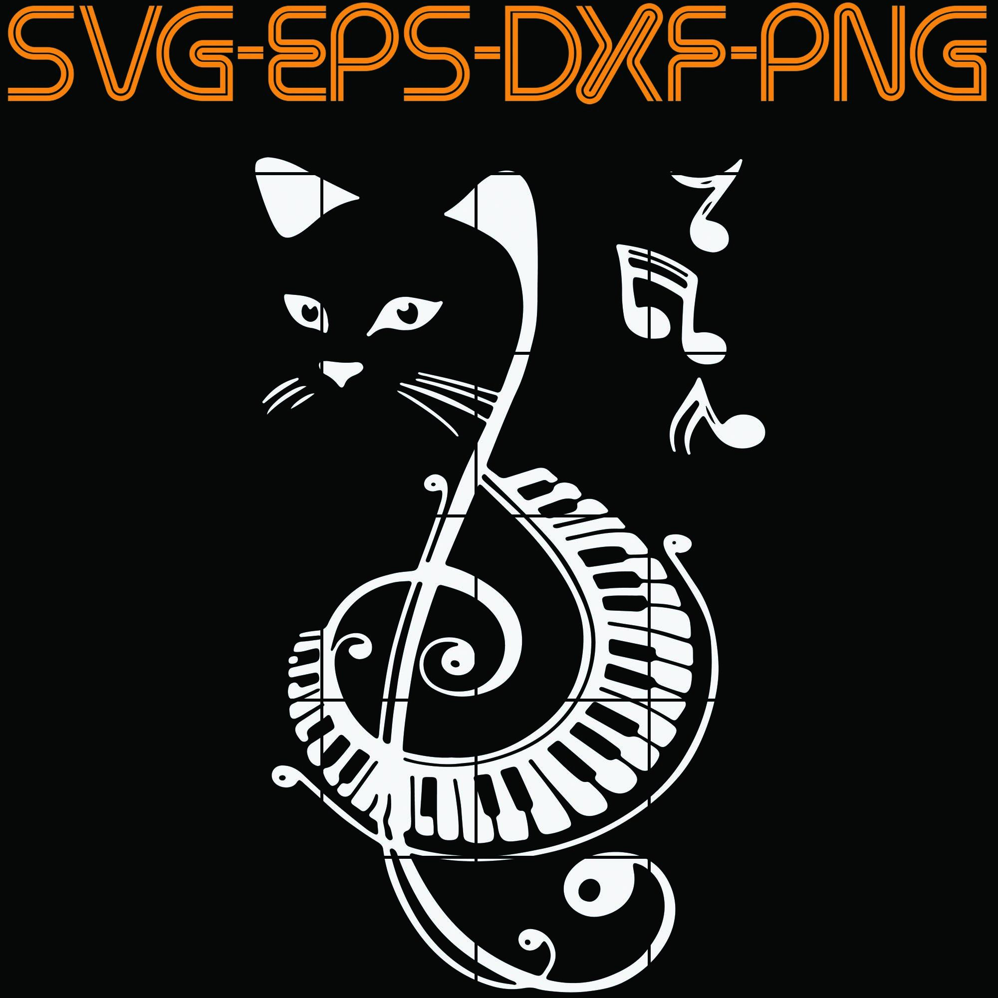 Cat musical instrument, Quotes, PNG, EPS, DXF, Digital