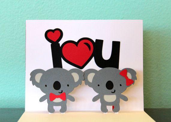 Koala Pop Up Card Pop Up Koala Card I 3 U Koala Card Etsy Cards Handmade Pop Up Cards Valentines Cards