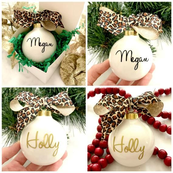 Personalized Christmas Ornament, Leopard Print Personalized Ornament, Christmas Gift Idea, Teacher O