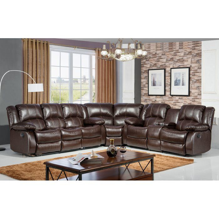 The Reclining Curved Sectional Has Hidden Storage And Cup Holder For The Total Home Entertainment Experien Reclining Sectional Leather Reclining Sofa Furniture