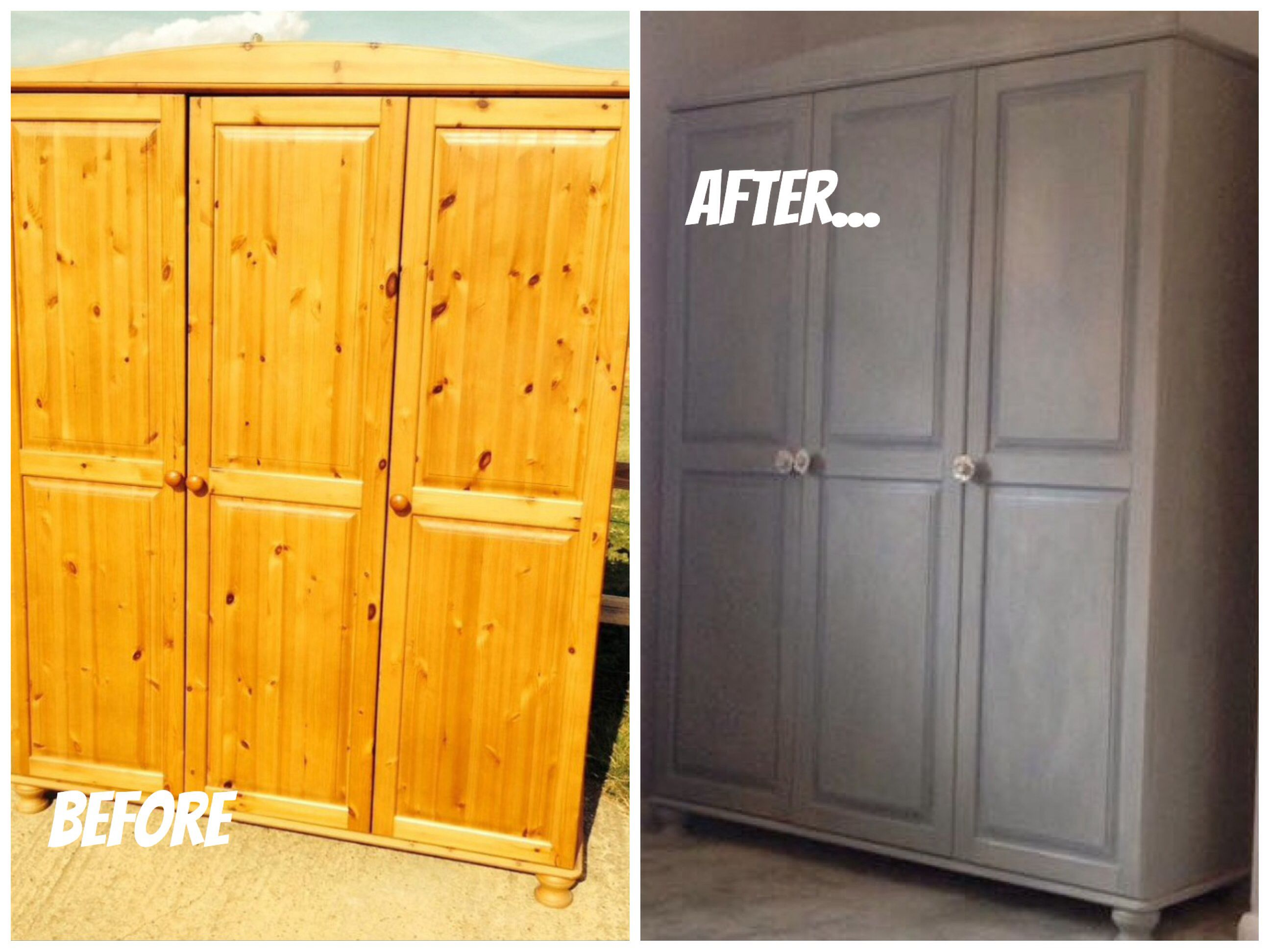 Painted furniture ideas before and after - Before And After Of My Triple Wardrobe