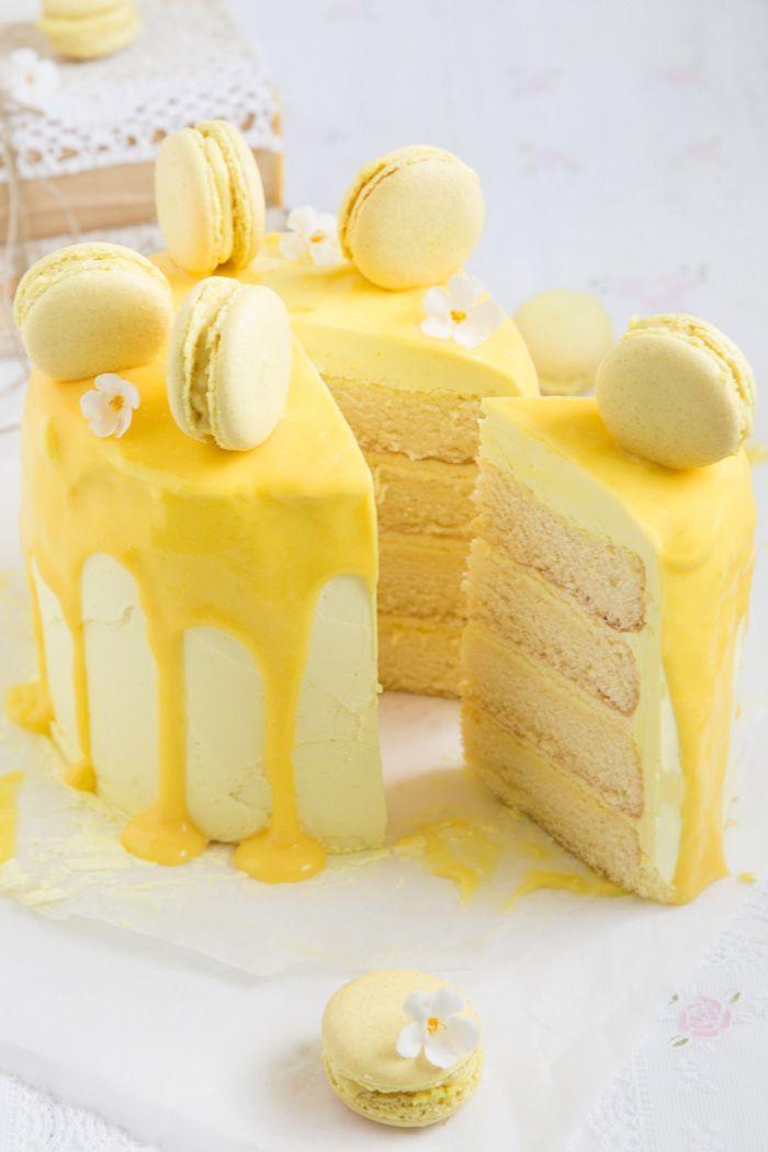 Zitronentorte mit Macarons - Lisbeths