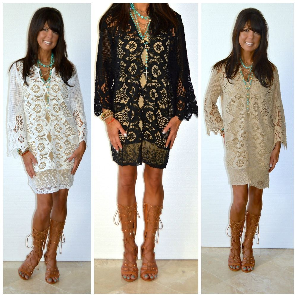 a6422fcfc2f47 SORRENTO Italian Crochet Lace Long Bell Sleeve Dress S - M Tunic Cover Up  $78 #Sorrento #Tunic #SummerBeach