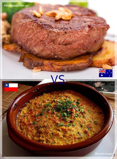 Siguen los partidos: Kangaroo grill vs Pastel de choclo!!! A disfrutar con un filete de canguro con papas o un pastel de maíz chileno. :D