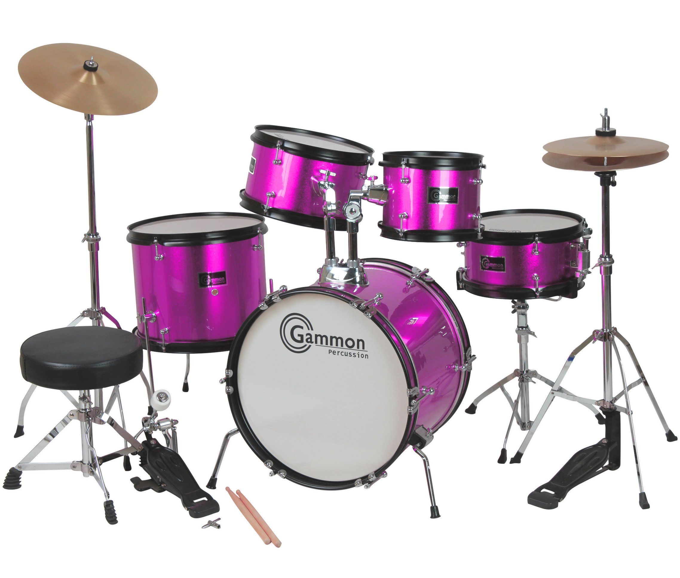 Princess Pink Drum Set with Cymbals Stool Stands Sticks Complete ...