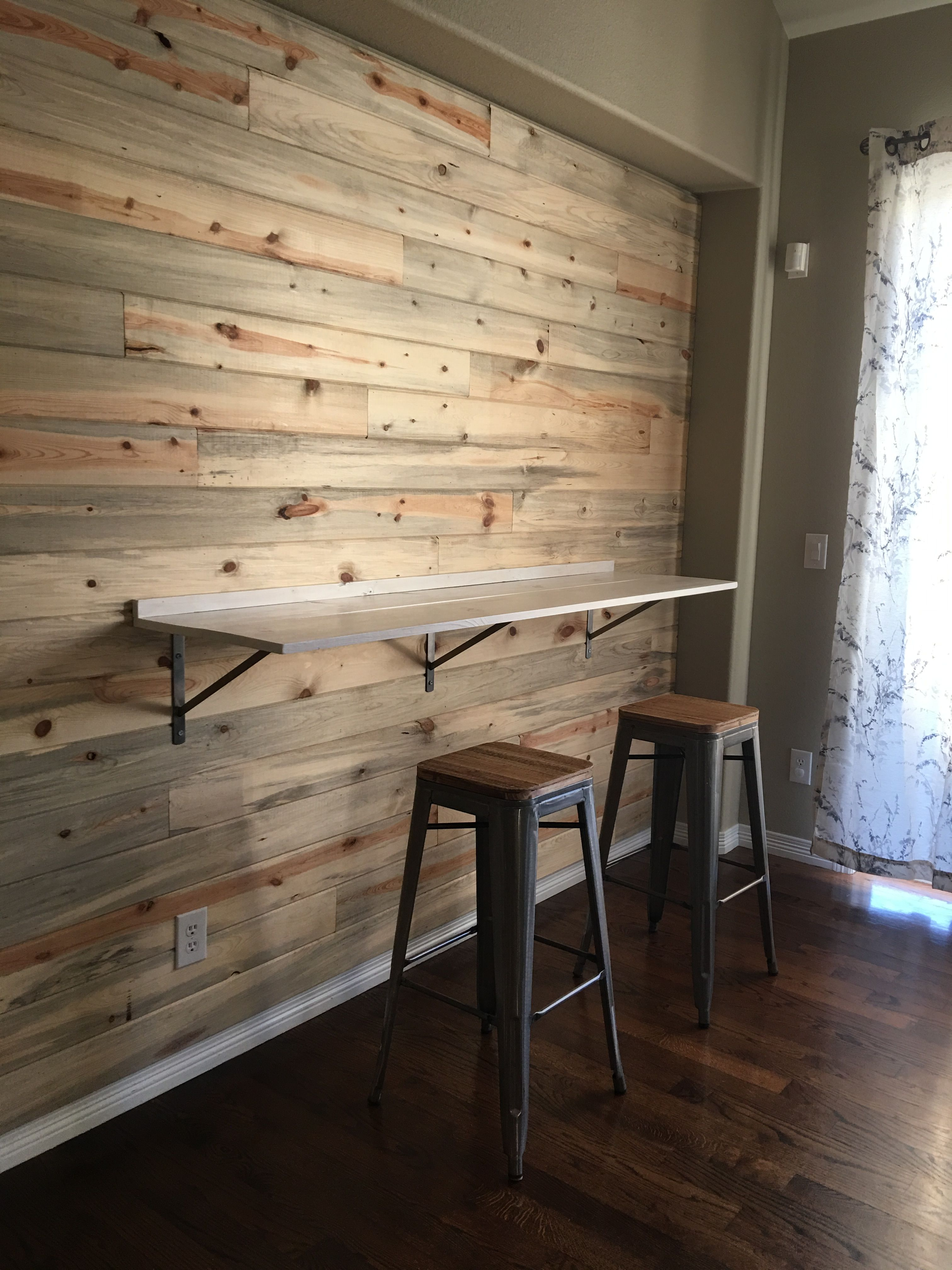 Bar Height Table Ledge For Kitchen Nook Area Mounted To Wood Wall