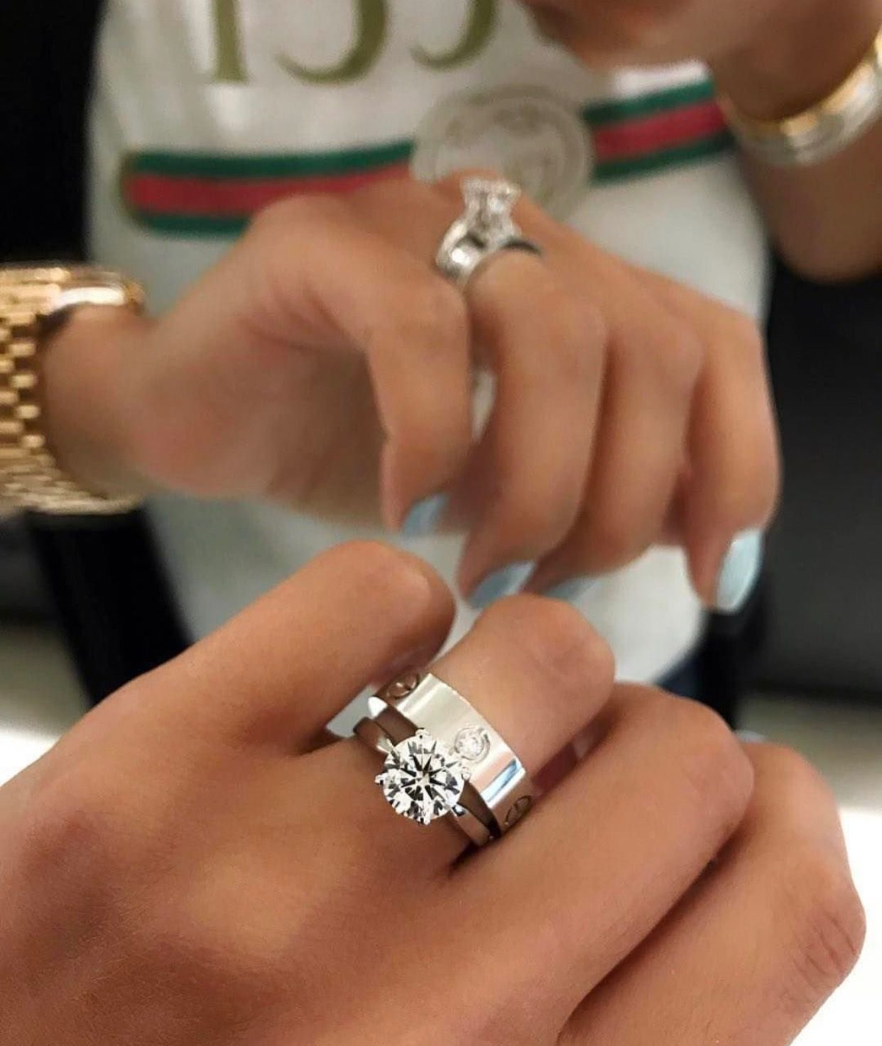 White Gold Solitaire Wedding Ring With A Cartier Love Wedding Band In 2020 Cartier Wedding Rings Cartier Love Ring Love Ring