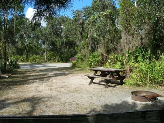 Looking toward campground road; water spigot and electrical hook up on left; picnic table and fire ring on left; site mostly sunny in afternoon