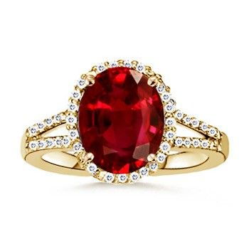 Angara Solitaire Oval Ruby Split Shank Ring in 14k Yellow Gold zTLHKv