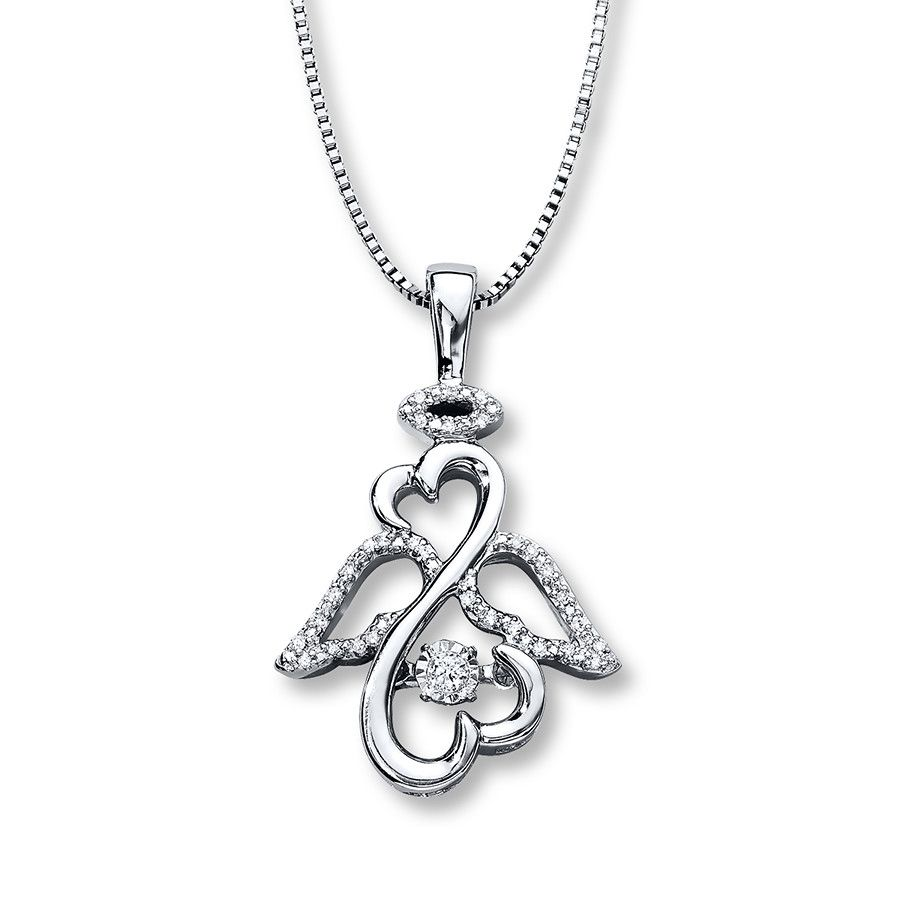 From open hearts rhythm by jane seymour this pretty necklace for from open hearts rhythm by jane seymour this pretty necklace for her features the iconic open hearts symbol styled as an angel nestling a diamond that buycottarizona Gallery