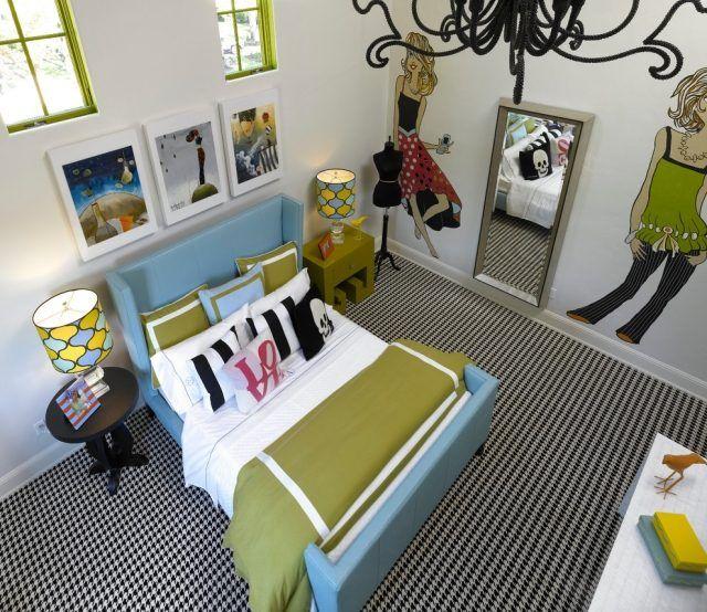 jugendzimmer mädchen modern grün blau weiß schwarz coole wanddeko ...