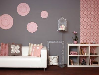 Grey Wall Combine With Pink Color On Home Decoration Pink Home Decor Pink And Grey Room Beige And Grey Living Room