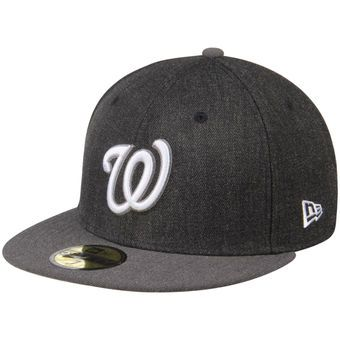 Men's Washington Nationals New Era Heathered Black/Heathered Gray Action 59FIFTY Fitted Hat