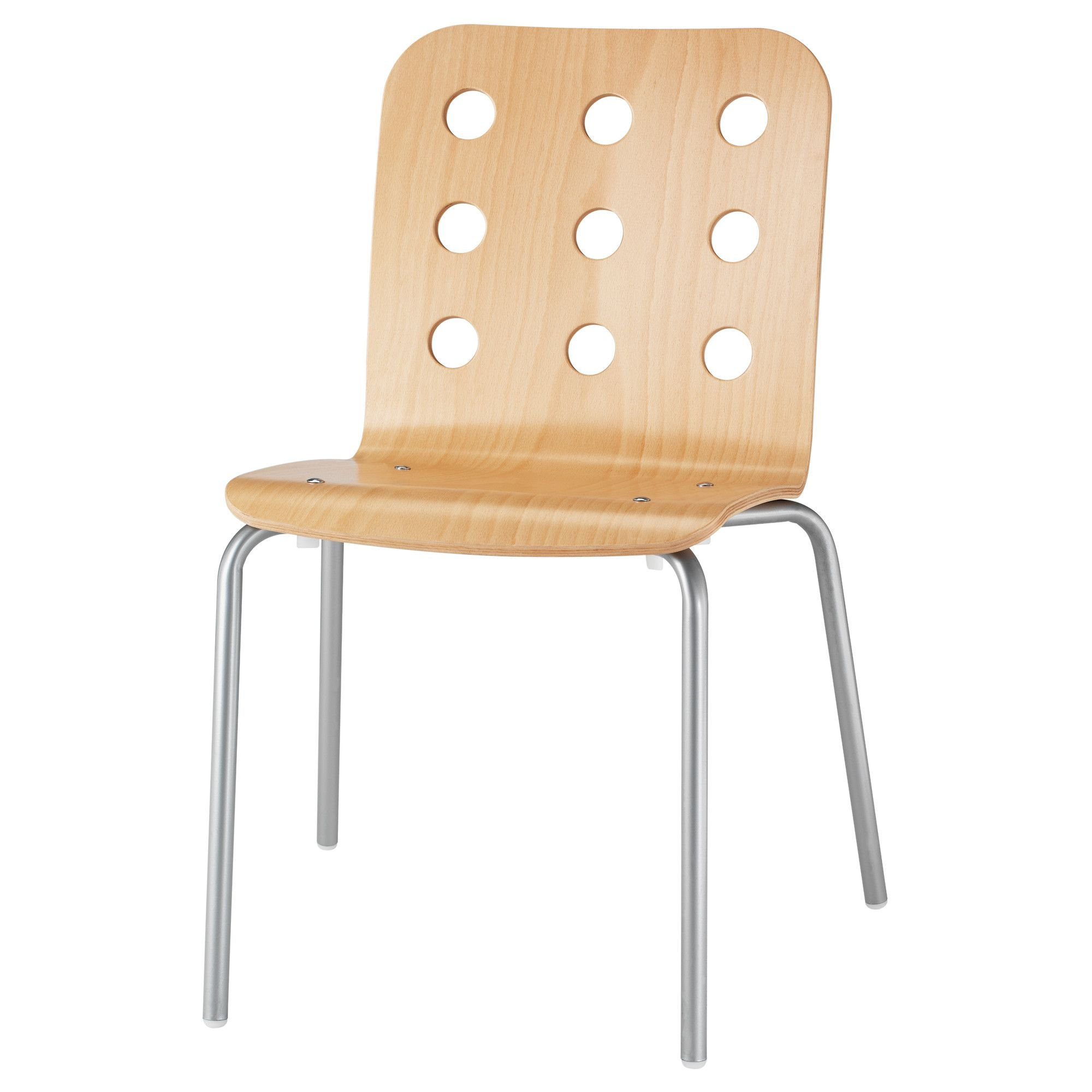 IKEA   JULES, Visitor Chair, Birch/silver Color, , The Chairs Are Stackable  And Save Space When Not In Use.
